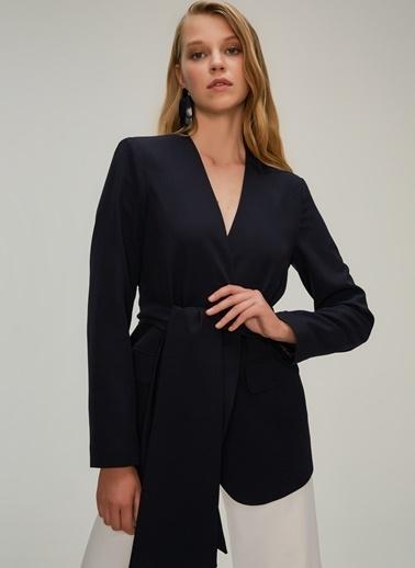 NGSTYLE Kuşakli Yakasız Ceket Siyah